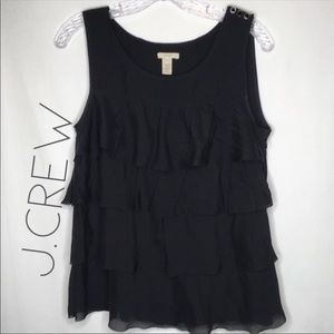 J. Crew 100% silk black ruffle tiered top S
